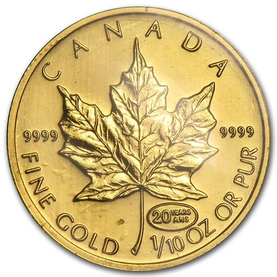 1999 Canada 1/10 oz Gold Maple Leaf BU (20 Years ANS Privy)