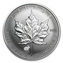 1999 Canada 1 oz Silver Maple Leaf Lunar Rabbit Privy