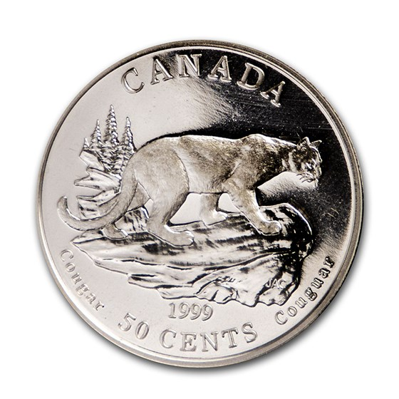 1999 Canada Silver $0.50 Cats of Canada: Cougar Prf (Original pkg