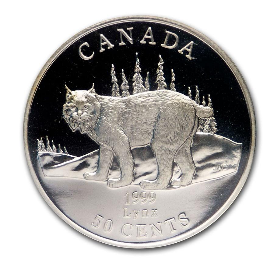 1999 Canada Silver $0.50 Cats of Canada: Lynx Prf (Original pkg)
