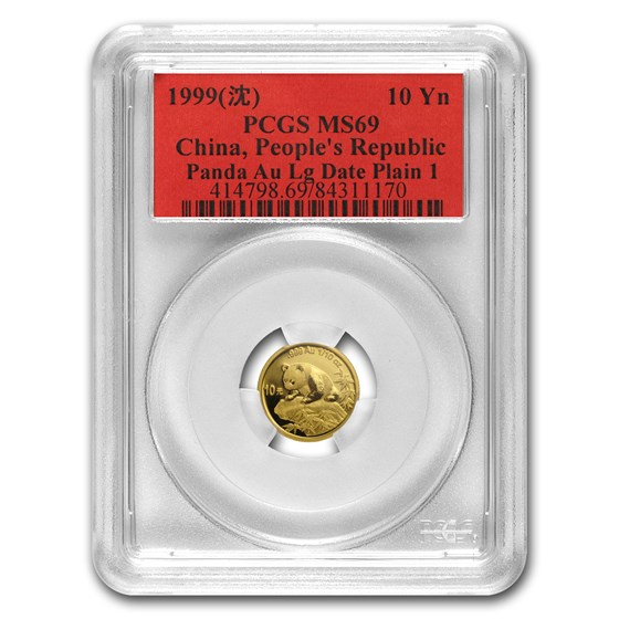 1999 China 1/10 oz Gold Panda MS-69 PCGS (Large Date, Plain 1 )