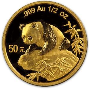1999 China 1/2 oz Gold Panda Large Date BU (NOT Sealed)