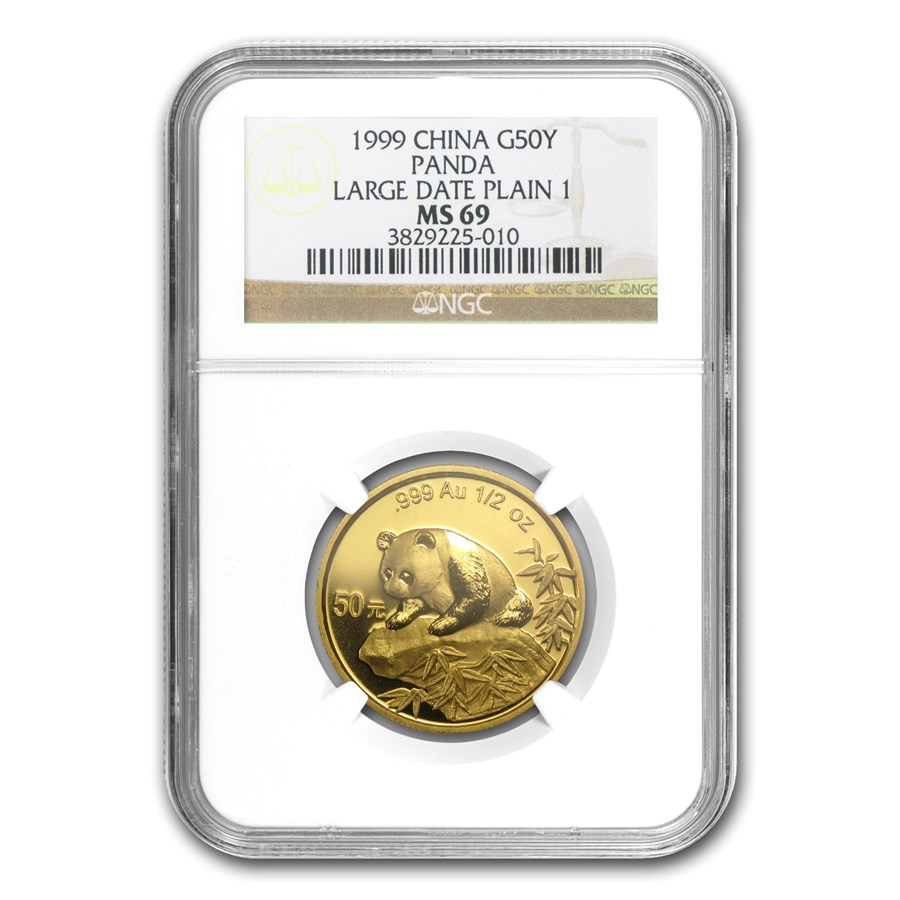 1999 China 1/2 oz Gold Panda Large Date/Plain 1 MS-69 NGC