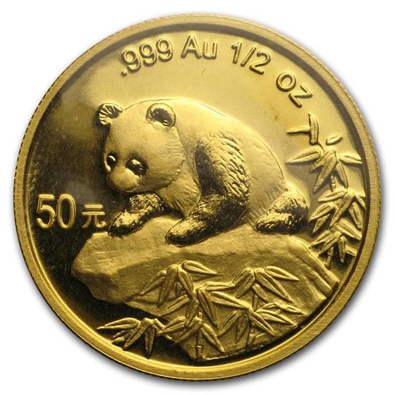 1999 China 1/2 oz Gold Panda Small Date BU (Sealed)