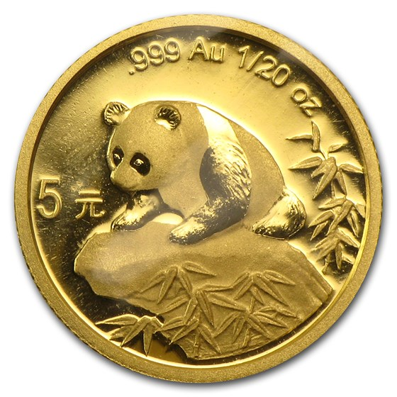 1999 China 1/20 oz Gold Panda Large Date No Serif BU (Sealed)