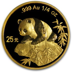 1999 China 1/4 oz Gold Panda BU (Not Sealed)