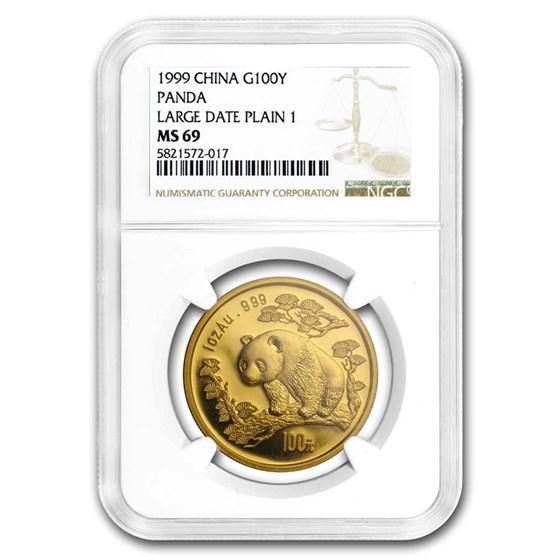 1999 China 1 oz Gold Panda Large Date/Plain 1 MS-69 NGC