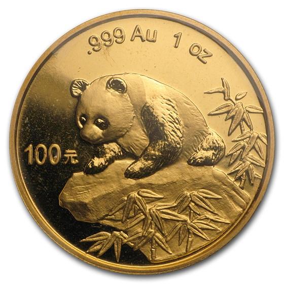 1999 China 1 oz Gold Panda Large Date w/Serif BU (Sealed)