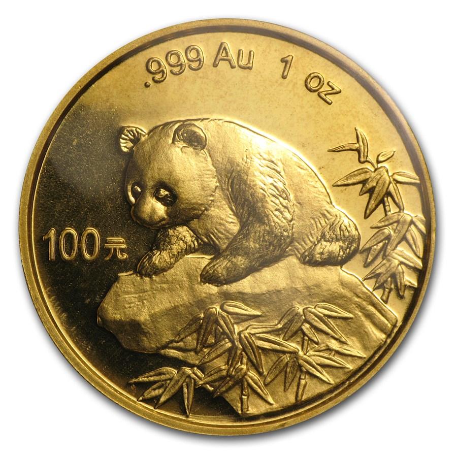 1999 China 1 oz Gold Panda Small Date BU (Sealed)