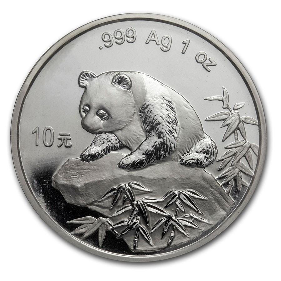 1999 China 1 oz Silver Panda Large Date BU (Sealed)