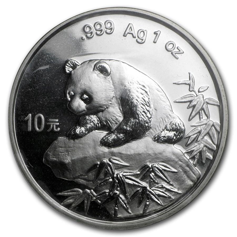 1999 China 1 oz Silver Panda Small Date BU (Sealed)