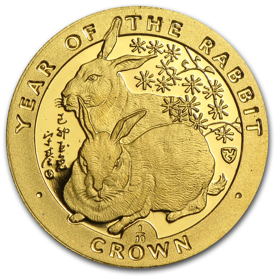 1999 Isle of Man 1/10 Crown Proof Gold Rabbit