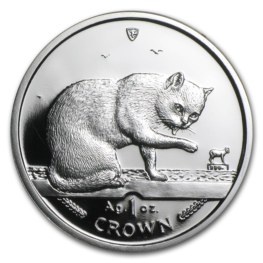 1999 Isle of Man 1 oz Silver British Blue Cat Proof
