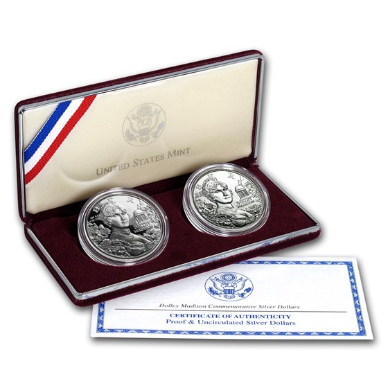 1999-P 2-Coin Dolley Madison BU & Proof Set (w/Box & COA)