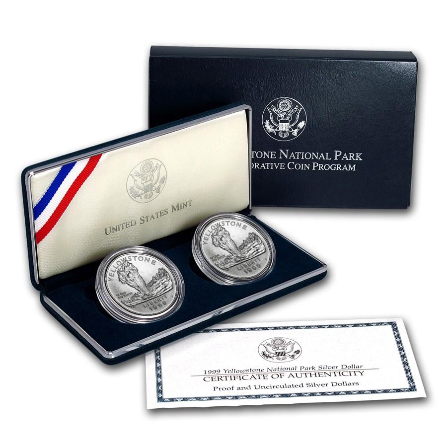 1999-P 2-Coin Yellowstone National Park BU & Prf Set (Box & COA)