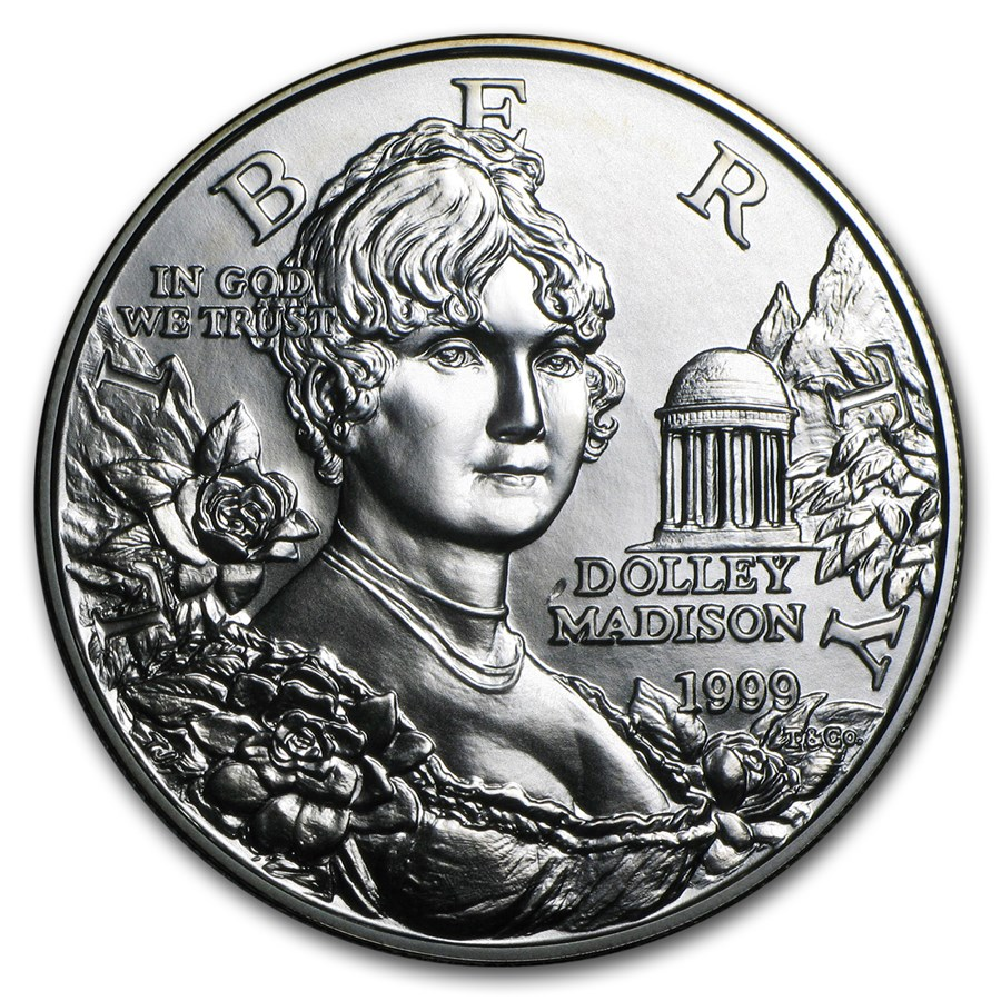 1999-P Dolley Madison $1 Silver Commem BU (w/Box & COA)