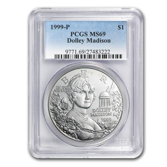 1999-P Dolley Madison $1 Silver Commem MS-69 PCGS