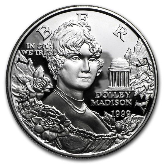 1999-P Dolley Madison $1 Silver Commem Proof (w/Box & COA)