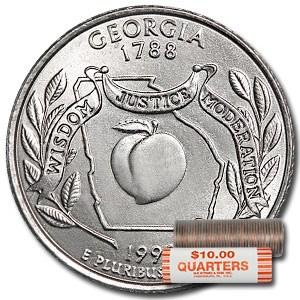 1999-P Georgia Statehood Quarter 40-Coin Roll BU