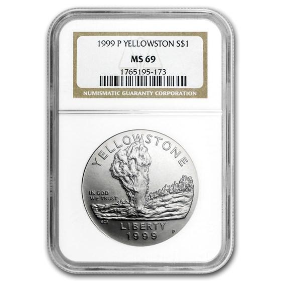 1999-P Yellowstone Park $1 Silver Commem MS-69 NGC
