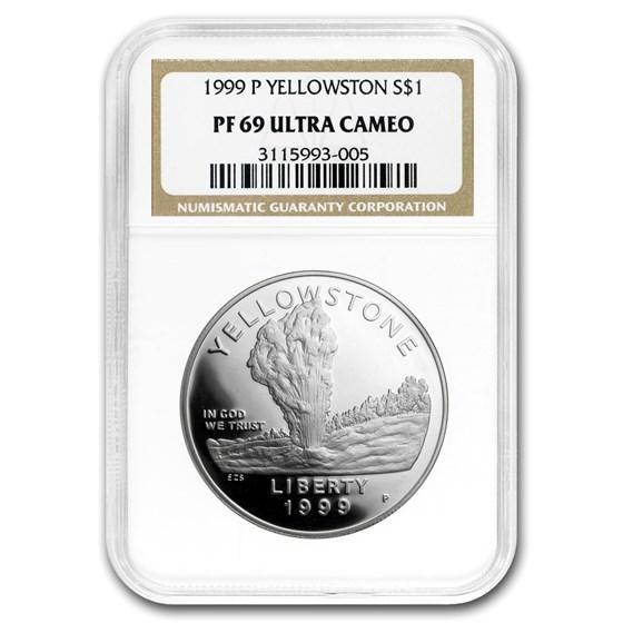 1999-P Yellowstone Park $1 Silver Commem PF-69 NGC