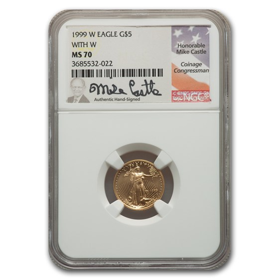 1999-W 1/10 oz American Gold Eagle MS-70 NGC (W Variety, Castle)