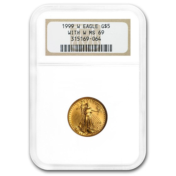 1999-W 1/10 oz Gold American Eagle MS-69 NGC (W Variety)
