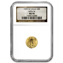 1999-W 1/10 oz Gold American Eagle MS-70 NGC (W Variety)