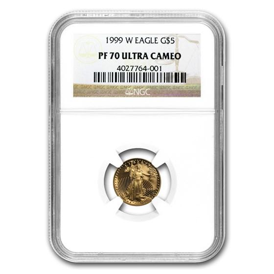 1999-W 1/10 oz Proof Gold American Eagle PF-70 NGC