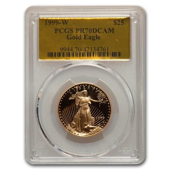 1999-W 1/2 oz Proof American Gold Eagle PR-70 PCGS (Gold Foil)