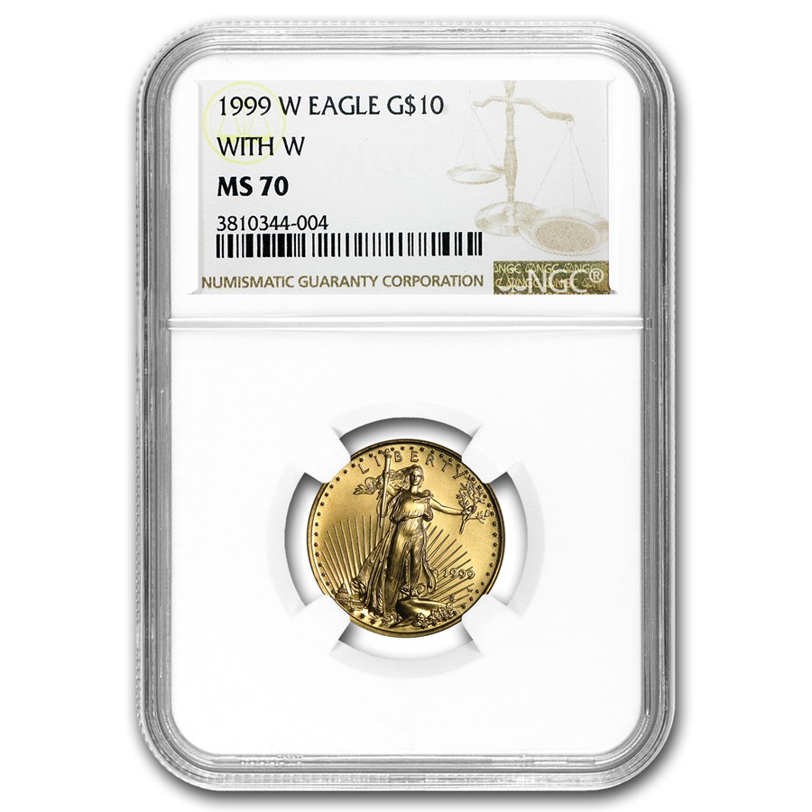 1999-W 1/4 oz Gold American Eagle MS-70 NGC (W Variety)