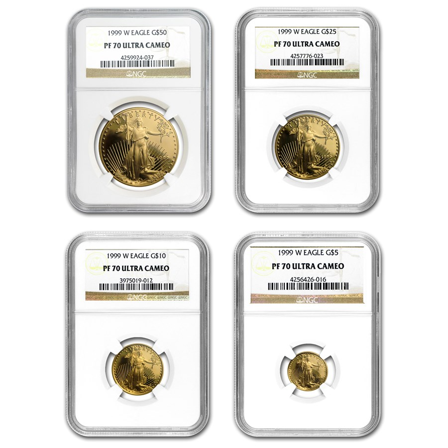 1999-W 4-Coin Proof American Gold Eagle Set PF-70 NGC