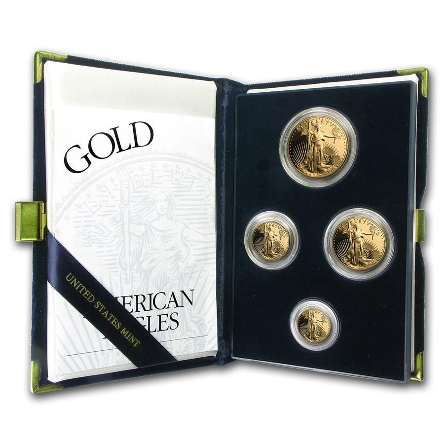 1999-W 4-Coin Proof American Gold Eagle Set (w/Box & COA)