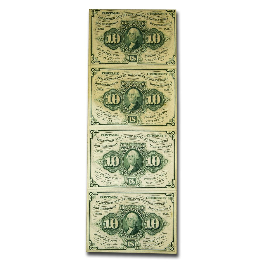 1st Issue Fractional Currency 10 Cents XF (Uncut sheet of 4)
