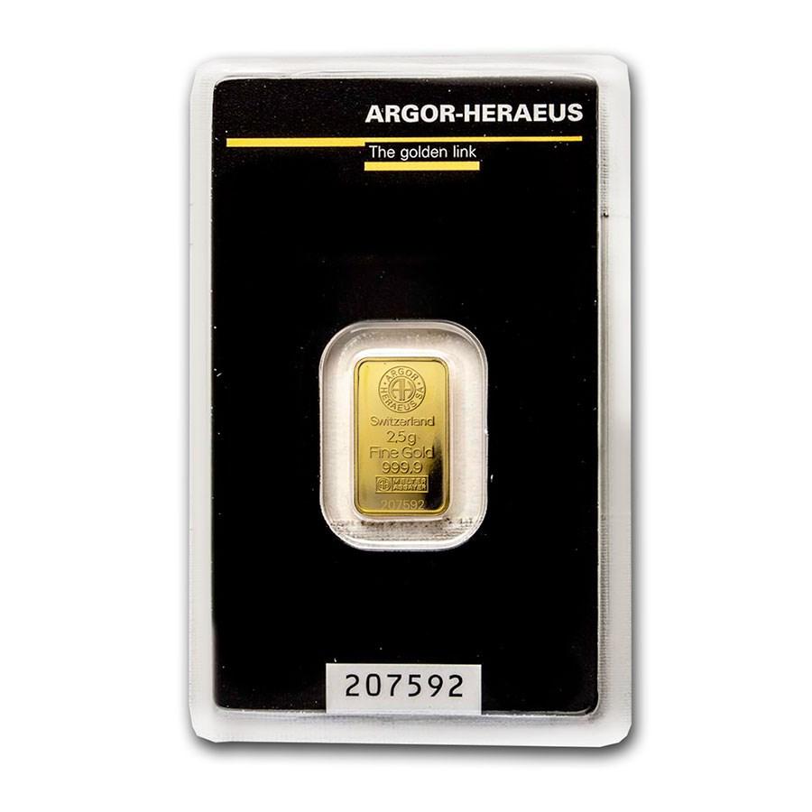 2.5 gram Gold Bar - Argor-Heraeus (In Assay)