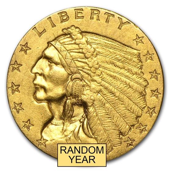 $2.50 Indian Gold Quarter Eagle AU (Random Year)