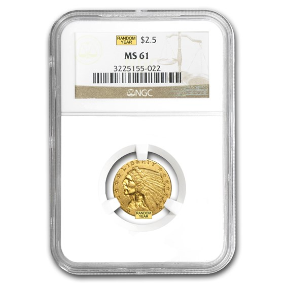 $2.50 Indian Gold Quarter Eagle MS-61 NGC/PCGS