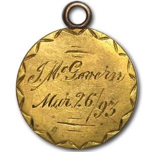 $2.50 Liberty Gold Quarter Eagle - 1861 - Love Token - J McGovern