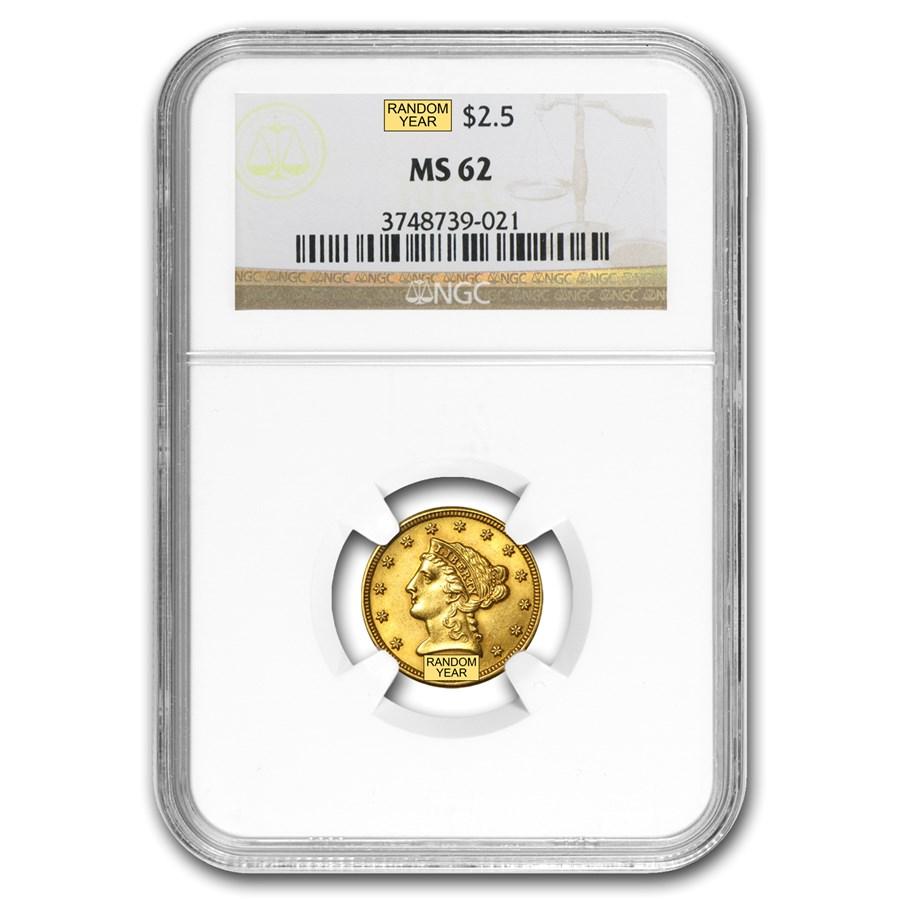 $2.50 Liberty Gold Quarter Eagle MS-62 NGC/PCGS