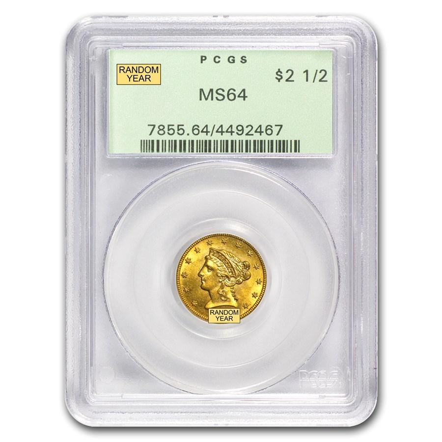 $2.50 Liberty Gold Quarter Eagle MS-64 NGC/PCGS