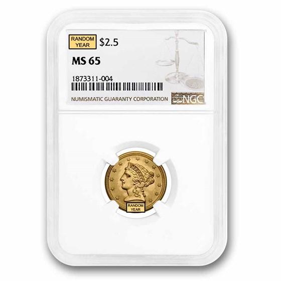 $2.50 Liberty Gold Quarter Eagle MS-65 NGC/PCGS