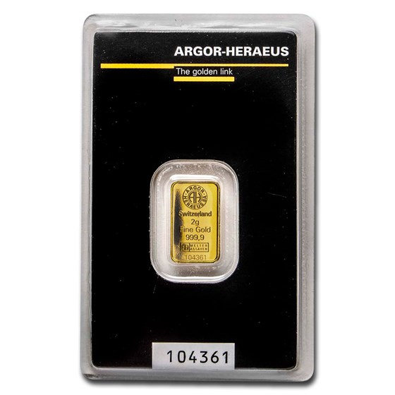 2 gram Gold Bar - Argor-Heraeus KineBar Design (In Assay)