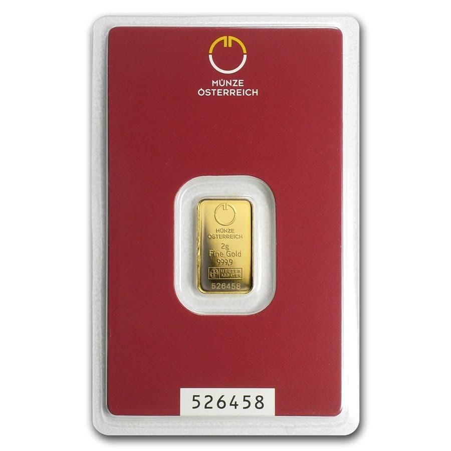 2 gram Gold Bar - Austrian Mint (In Assay)