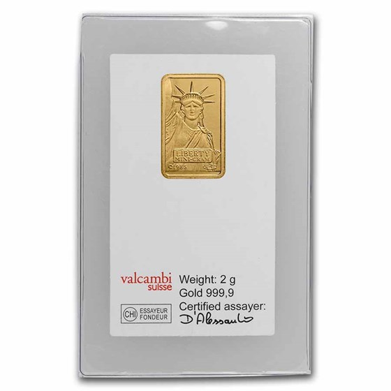 2 gram Gold Bar - Credit Suisse Statue of Liberty (Classic Assay)