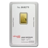 2 gram Gold Bar - Credit Suisse Statue of Liberty (New Assay)