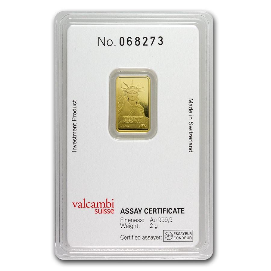 2 gram Gold Bar - Credit Suisse Statue of Liberty (New Assay)
