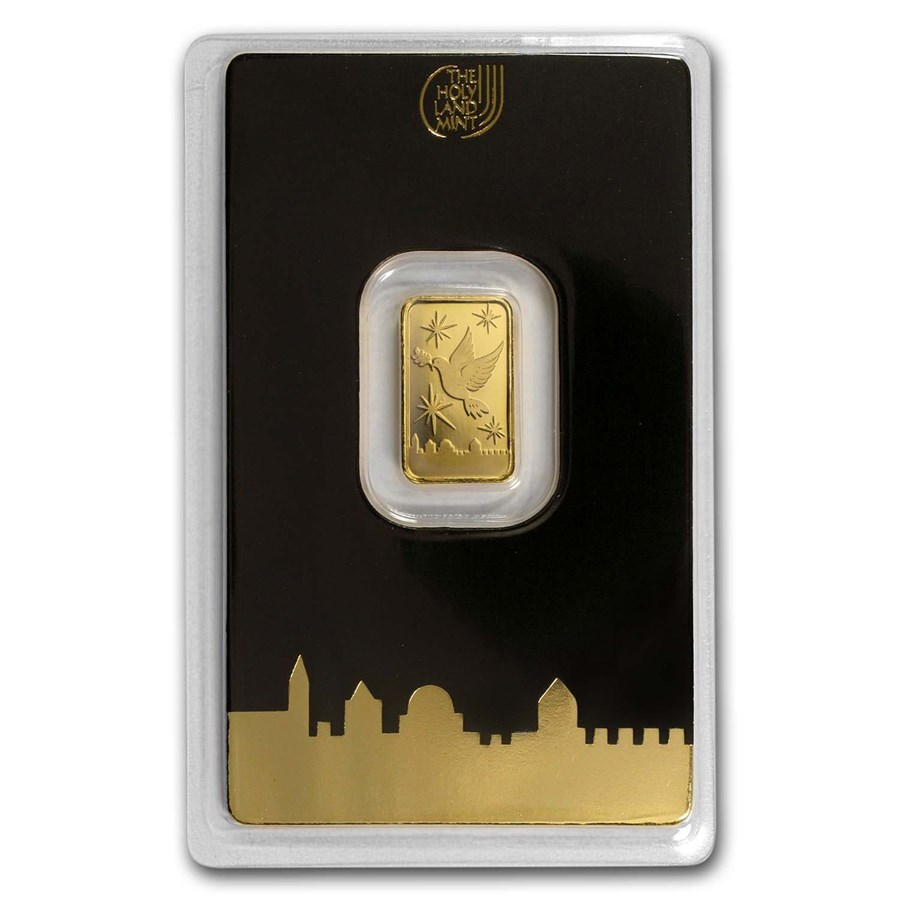 2 gram Gold Bar - Holy Land Mint Dove of Peace