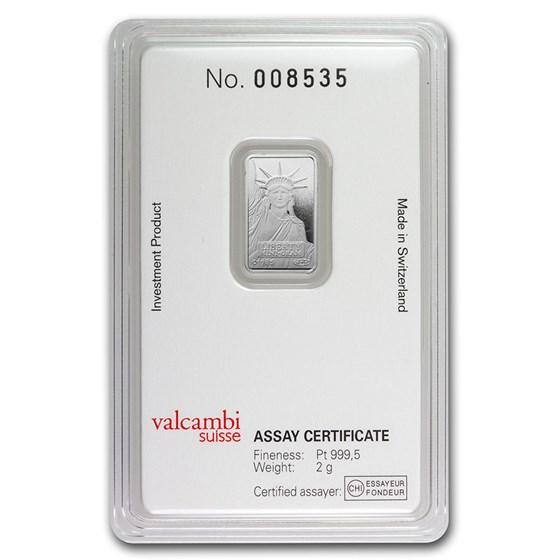 2 gram Platinum Bar - Credit Suisse (In Assay)