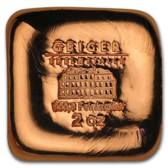 2 oz Copper Square - Geiger (Poured, .9999 Fine)