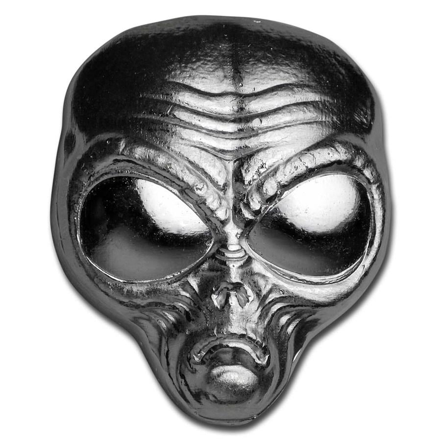 2 oz Hand Poured Silver - Alien Head (w/Custom Pouch)